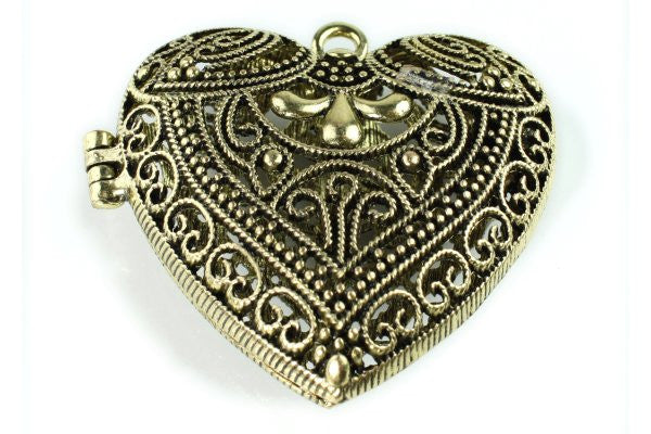 Hollow Heart Lace Locket Antique Bronze Plated Pendant - Beads & Findings - Craft De Ville - Craft de Ville