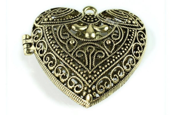 Hollow Heart Lace Locket Antique Bronze Plated Pendant - Craft De Ville - Craft de Ville
