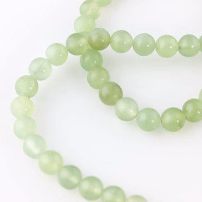 Jade Beads - 8mm Round - Green & White - Beads & Findings - Craft De Ville - Craft de Ville