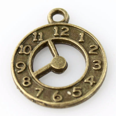 Clock Charm - Vintage Bronze - Beads & Findings - Craft De Ville - Craft de Ville