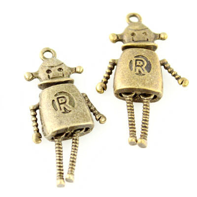 Robot Pendant with Moving Parts - Antique Bronze - Beads & Findings - Craft De Ville - Craft de Ville