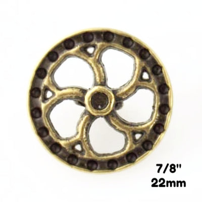 "Flywheel Button - Antique Brass - 7/8"" (22mm) - Craft De Ville - Craft de Ville"