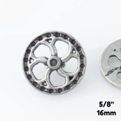 "Flywheel Button - Antique Silver - 5/8"" (16mm) - Buttons - Craft De Ville - Craft de Ville"