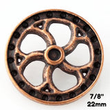 "Flywheel Button - Antique Copper - 7/8"" (22mm) - Craft De Ville - Craft de Ville"