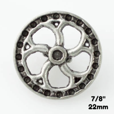 "Flywheel Button - Antique Silver - 7/8"" (22mm) - Craft De Ville - Craft de Ville"