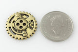 "Gears Button - Antique Brass - 7/8"" (22mm) - Buttons - Craft De Ville - Craft de Ville"