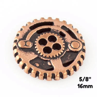 "Gears Button - Antique Copper - 5/8"" (16mm) - Buttons - Craft De Ville - Craft de Ville"
