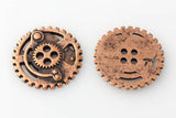 "Gears Button - Antique Copper - 7/8"" (22mm) - Buttons - Craft De Ville - Craft de Ville"