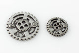 "Gears Button - Antique Silver - 7/8"" (22mm) - Craft De Ville - Craft de Ville"