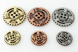 "Gears Button - Antique Silver - 7/8"" (22mm) - Buttons - Craft De Ville - Craft de Ville"