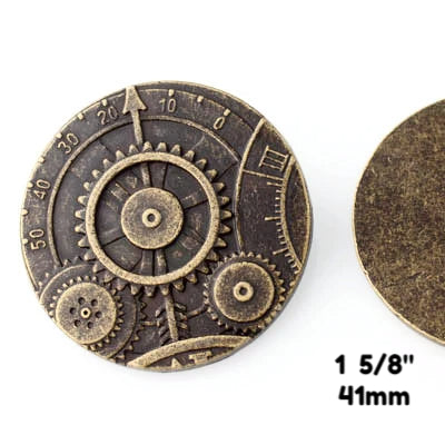 "Mechanism Button - Antique Brass - 1 5/8"" (41mm) - Buttons - Craft De Ville - Craft de Ville"