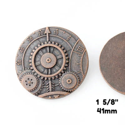 "Mechanism Button - Antique Copper - 1 5/8"" (41mm) - Buttons - Craft De Ville - Craft de Ville"