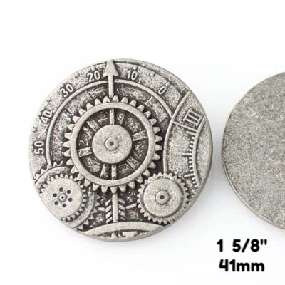 "Mechanism Button - Antique Silver - 1 5/8"" (41mm) - Craft De Ville - Craft de Ville"