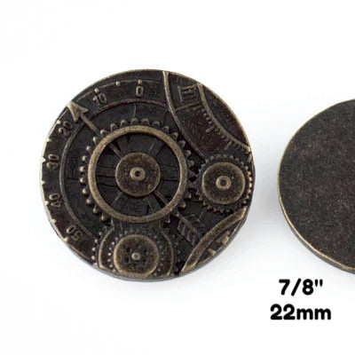 "Mechanism Button - Antique Brass - 7/8"" (22mm) - Buttons - Craft De Ville - Craft de Ville"