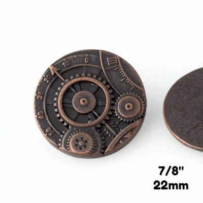 "Mechanism Button - Antique Copper - 7/8"" (22mm) - Buttons - Craft De Ville - Craft de Ville"