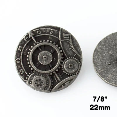 "Mechanism Button - Antique Silver - 7/8"" (22mm) - Buttons - Craft De Ville - Craft de Ville"