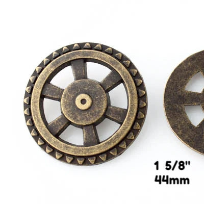 "Open Wheel Button - Antique Brass - 1 5/8"" (44mm) - Buttons - Craft De Ville - Craft de Ville"