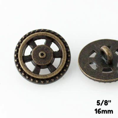 "Open Wheel Button - Antique Brass - 5/8"" (16mm) - Buttons - Craft De Ville - Craft de Ville"