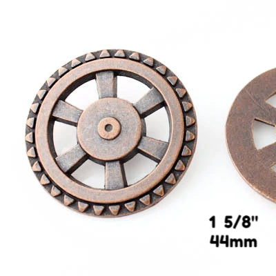 "Open Wheel Button - Antique Copper - 1 5/8"" (44mm) - Buttons - Craft De Ville - Craft de Ville"