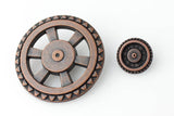 "Open Wheel Button - Antique Copper - 1 5/8"" (44mm) - Craft De Ville - Craft de Ville"