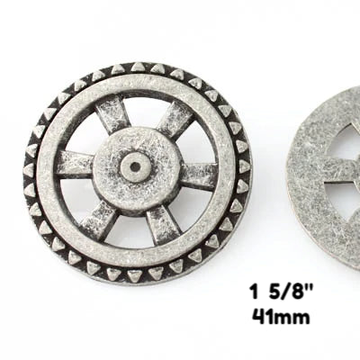 "Open Wheel Button - Antique Silver - 1 5/8"" (44mm) - Buttons - Craft De Ville - Craft de Ville"