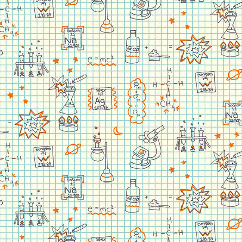 Birch Organic Fabric - Robotics - Graph Paper - Birch - Craft de Ville