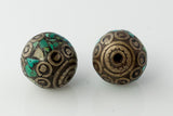 Handmade Tibetan Bead - Round Silver with Turquoise - Beads & Findings - Perfectly Reasonable Tours - Craft de Ville