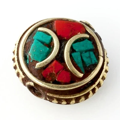 Handmade Tibetan Bead - Turquoise, Red Stone and Brass Flat Round - Perfectly Reasonable Tours - Craft de Ville