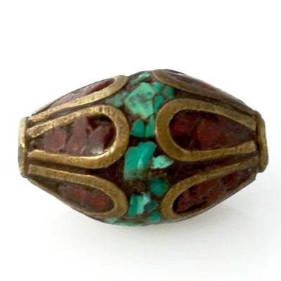 Handmade Tibetan Bead - Turquoise, Red Stone and Brass Short Tapered Cylinder - Perfectly Reasonable Tours - Craft de Ville