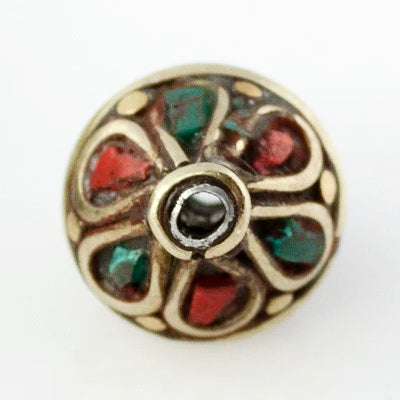 Handmade Tibetan Bead - Turquoise, Red Stone and Brass Bicone - Perfectly Reasonable Tours - Craft de Ville