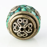 Handmade Tibetan Bead - Turquoise and Silver Capped Round - Perfectly Reasonable Tours - Craft de Ville