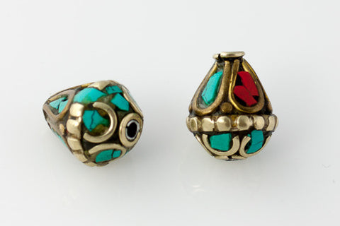 Handmade Tibetan Bead - Turquoise, Red Stone and Brass Teardrop - Pair - Beads & Findings - Perfectly Reasonable Tours - Craft de Ville