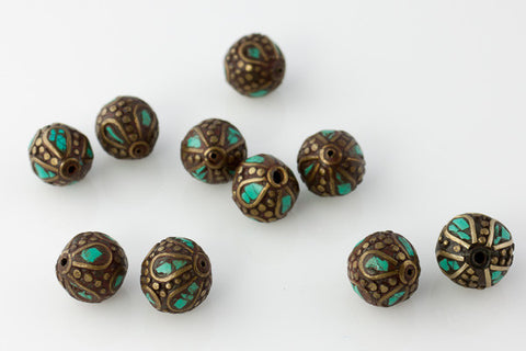 Handmade Tibetan Bead - Turquoise and Brass Odd Round - Beads & Findings - Perfectly Reasonable Tours - Craft de Ville