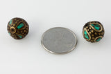 Handmade Tibetan Bead - Turquoise and Brass Odd Round - Perfectly Reasonable Tours - Craft de Ville