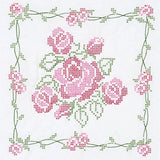 "Stamped Quilt Block - Rose Bouquet - 18"" x 18"" - Embroidery - Jack Dempsey Needle Art - Craft de Ville"