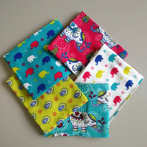 Bright Indian Elephants - Fat Quarter Bundle - The Craft Cotton Co. - Craft de Ville