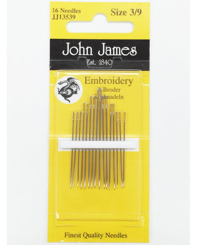 Hand Embroidery Needles - Size 3 & 9 - 16 pack - John James - Craft de Ville