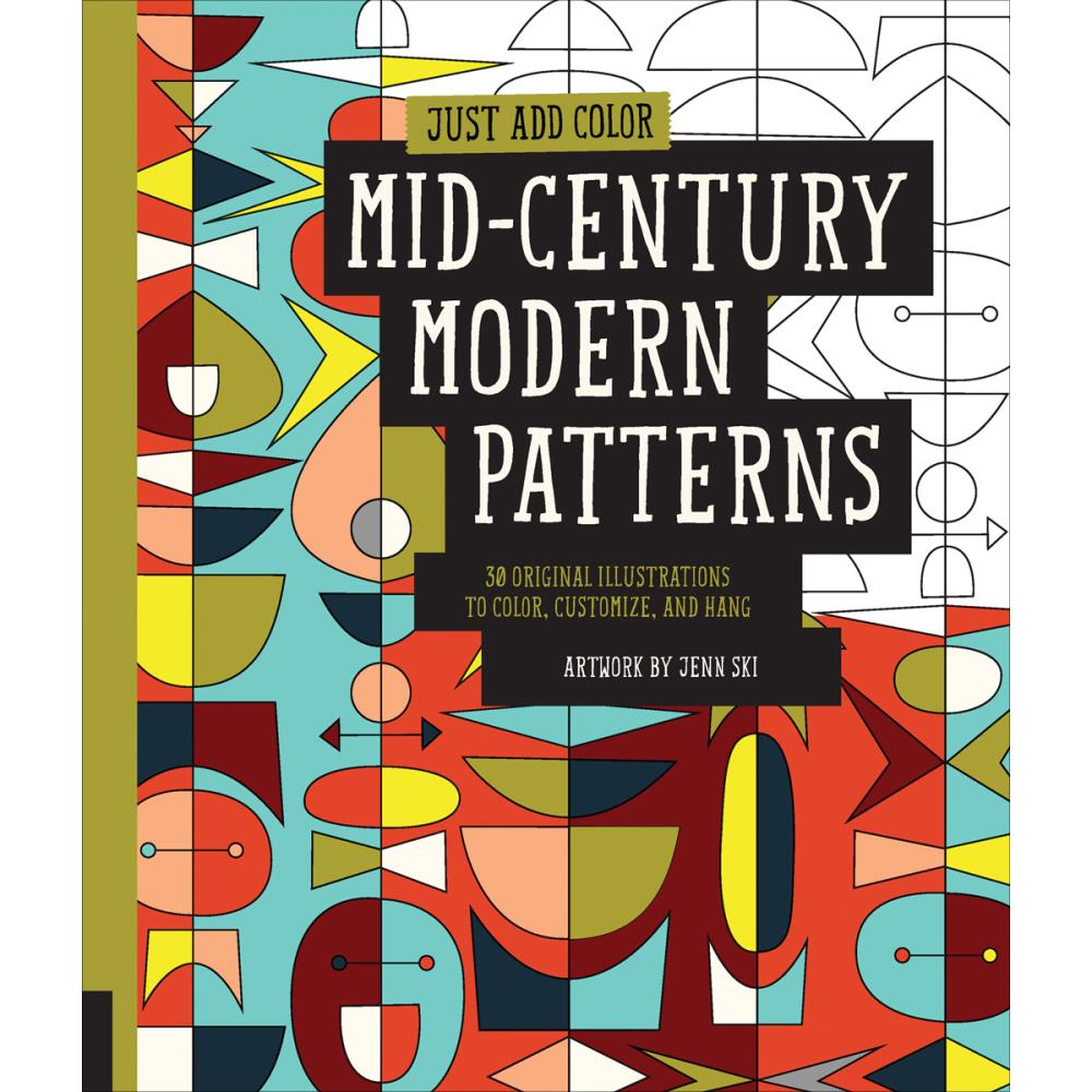 Just Add Color - Mid Century Modern Patterns Coloring Book - Rockport Books - Craft de Ville