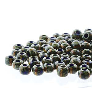 Seedbeads 2/0 - Blue White Stripe with Dark Travertine Finish - Beads & Findings - BeadSmith - Craft de Ville