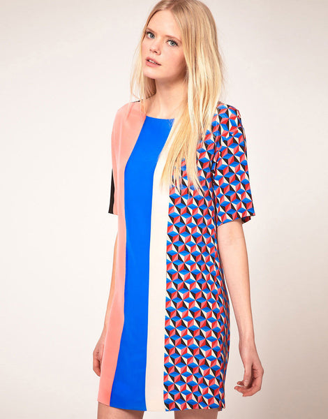MSGM Stripe & Geometric Tunic Dress