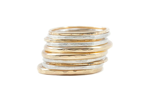 Colleen Mauer Designs - 10 Stack Mostly Gold Mixed Gauge Rounded Stacking Rings