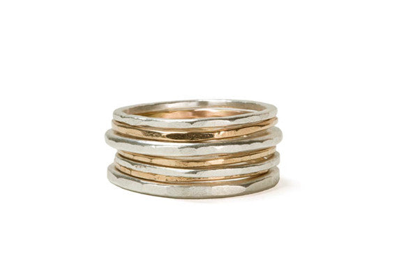 Colleen Mauer Designs - 7 Stack Mixed Metal & Gauge Rounded Stacking Rings