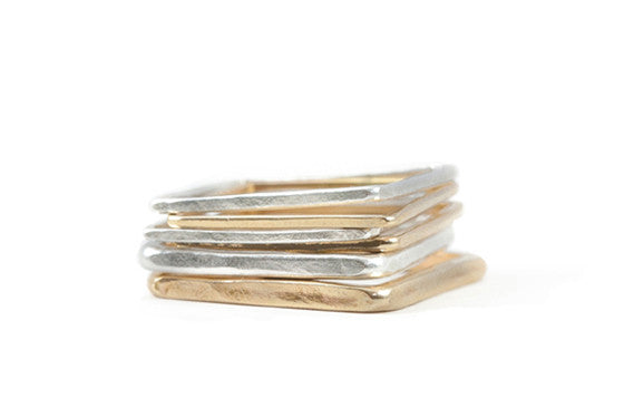 Colleen Mauer Designs - 6 Stack Mixed Metal Rigid Square Stacking Rings