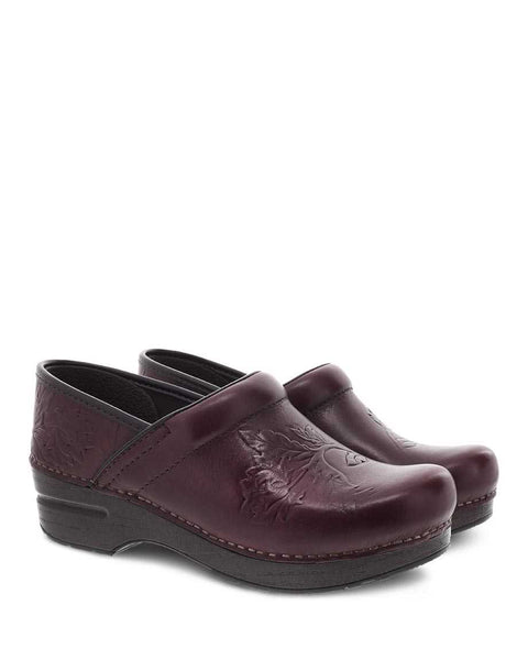 Dansko Professional Clog in Embossed Pro Burnished Calf Wine