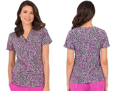 Healing Hands Women's Amanda Wild Mix Print Scrub Top