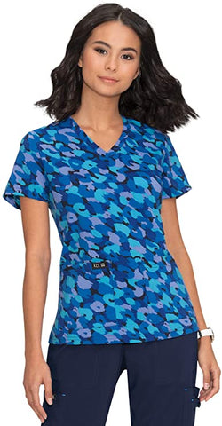 koi Women's Leslie Animal Camo Print Scrub Top