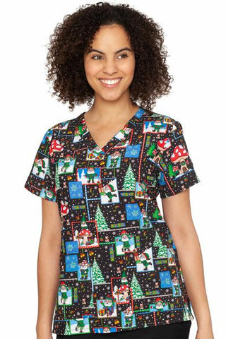 Med Couture No Place Like Gnome Holiday V-Neck Print Scrub Top