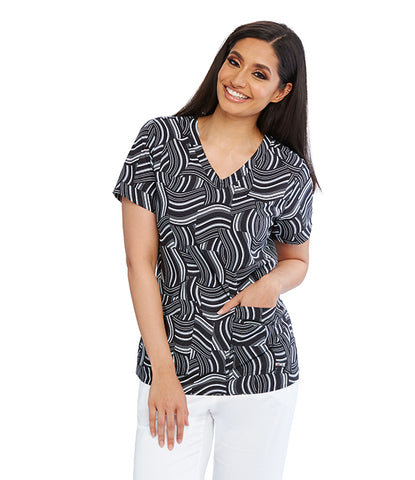 Grey's Women's Sound Wave Print Scrub Top