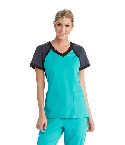Grey's Anatomy 3 Pocket Color Block V-Neck Scrub Top: Variety of Colors Available