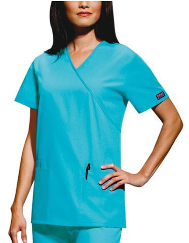 CLOSEOUT - Mock Wrap Tunic Scrub Top by Cherokee